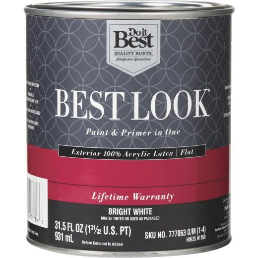 Best Look 100% Acrylic Latex Paint & Primer In One Flat Exterior House Paint, Bright White, 1 Qt.