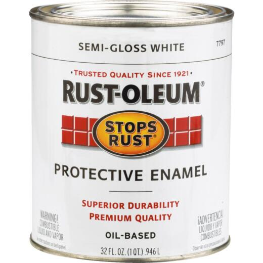 Rust-Oleum Stops Rust Oil Based Semi-Gloss Protective Rust Control Enamel, White, 1 Qt.