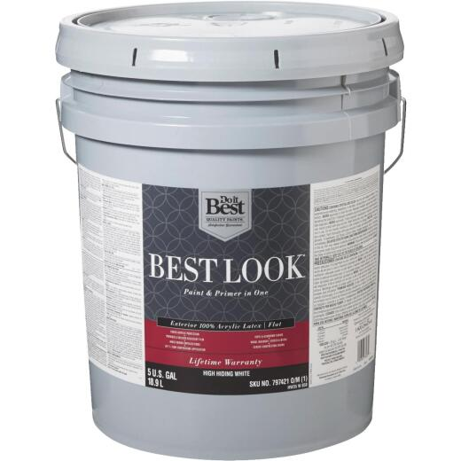 Best Look 100% Acrylic Latex Paint & Primer In One Flat Exterior House Paint, High Hiding White, 5 Gal.